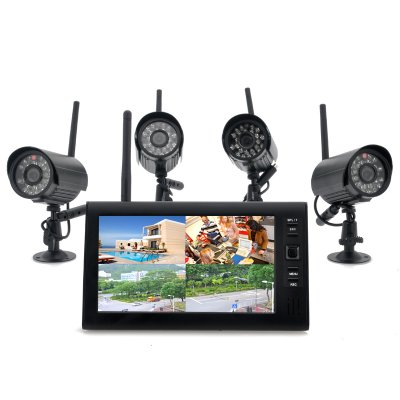 Wireless Home Security Camera System – 4x Indoor Wireless Cameras, 7 Inch Wireless Monitor, Built-in DVR
